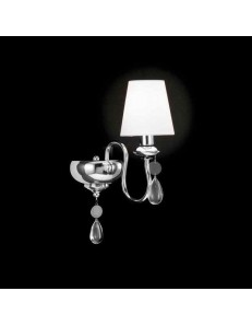 APPLIQUE LAMPADA PARETE metallo cromato 1 LUCE paralume tessuto bianco GOCCE
