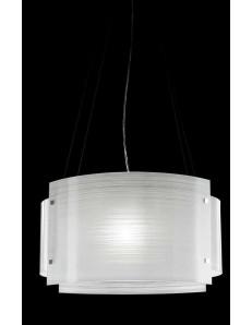 Sospensione moderna vetro curvo serigrafato bianco 50cm