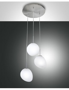 FABAS LUCE: Evo sospensione LED3 luci nichel satinato sfere vetro soffiato bianco in offerta
