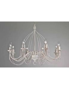 MR DESIGN: Lampadario 8 luci metallo lavorato finitura bianco antico shabby chic in offerta