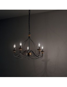 MR DESIGN: Lampadario 5 luci metallo lavorato finitura ruggine shabby chic in offerta