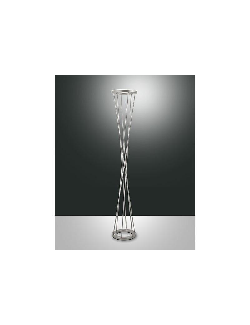 TWISTER LAMPADA DA TERRA PIANTANA LED 40W NICHEL DOPPIA LUCE MODERNA ...