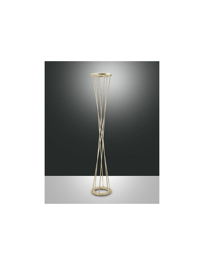 Twister lampada da terra piantana led 40w oro opaco doppia for Lampada da terra moderna