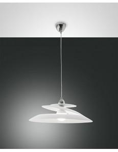 Fabas Luce: Aragon lampada sospensione bianca vetro effetto