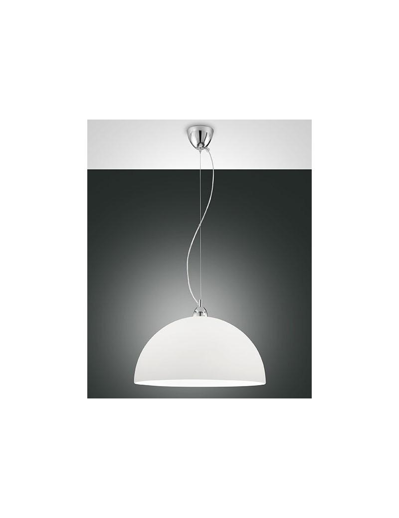 FABAS LUCE: Nice sospensione cupola regolabile vetro centrifugato colore bianco per cucina 46cm in