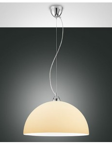 FABAS LUCE: Nice sospensione cupola regolabile vetro centrifugato colore crema ambra 46cm in offerta