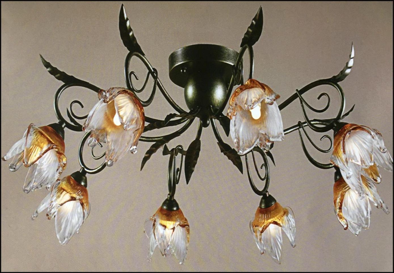 Plafoniera Fiori : Plafoniera anticata 8 luci con fiore vetro soffiato ambra trasparente