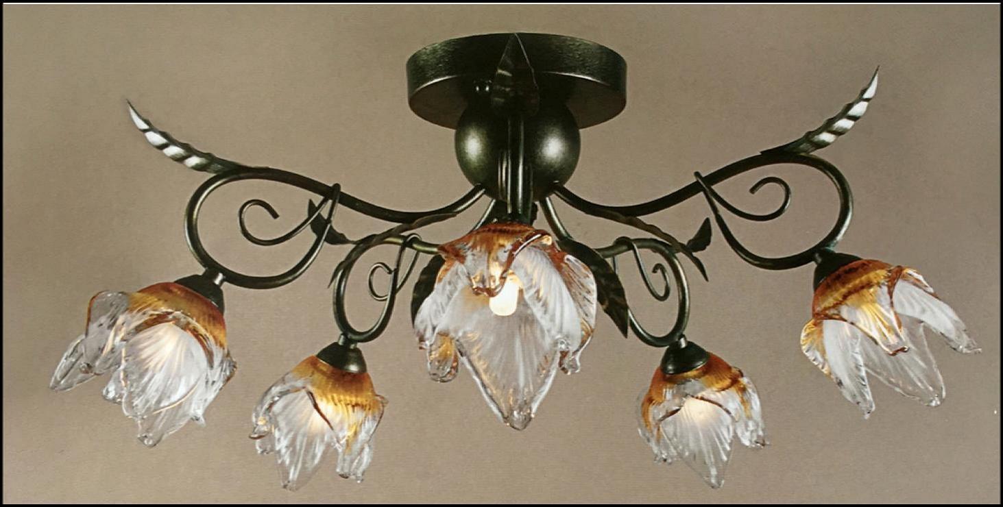 Plafoniera Fiori Murano : Plafoniera fiori murano grande nove luci in ferro