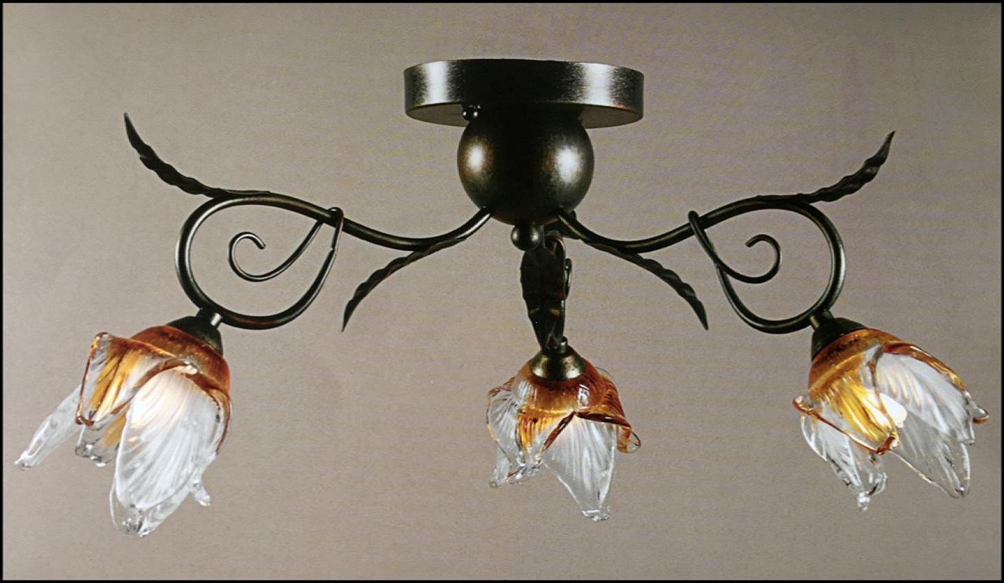 Plafoniera Fiori : Plafoniera anticata 3 luci con fiore vetro soffiato ambra trasparente