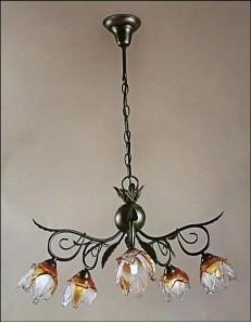 MR DESIGN: Sospensione anticata 5 luci con fiore vetro soffiato ambra e trasparente 60cm in offerta