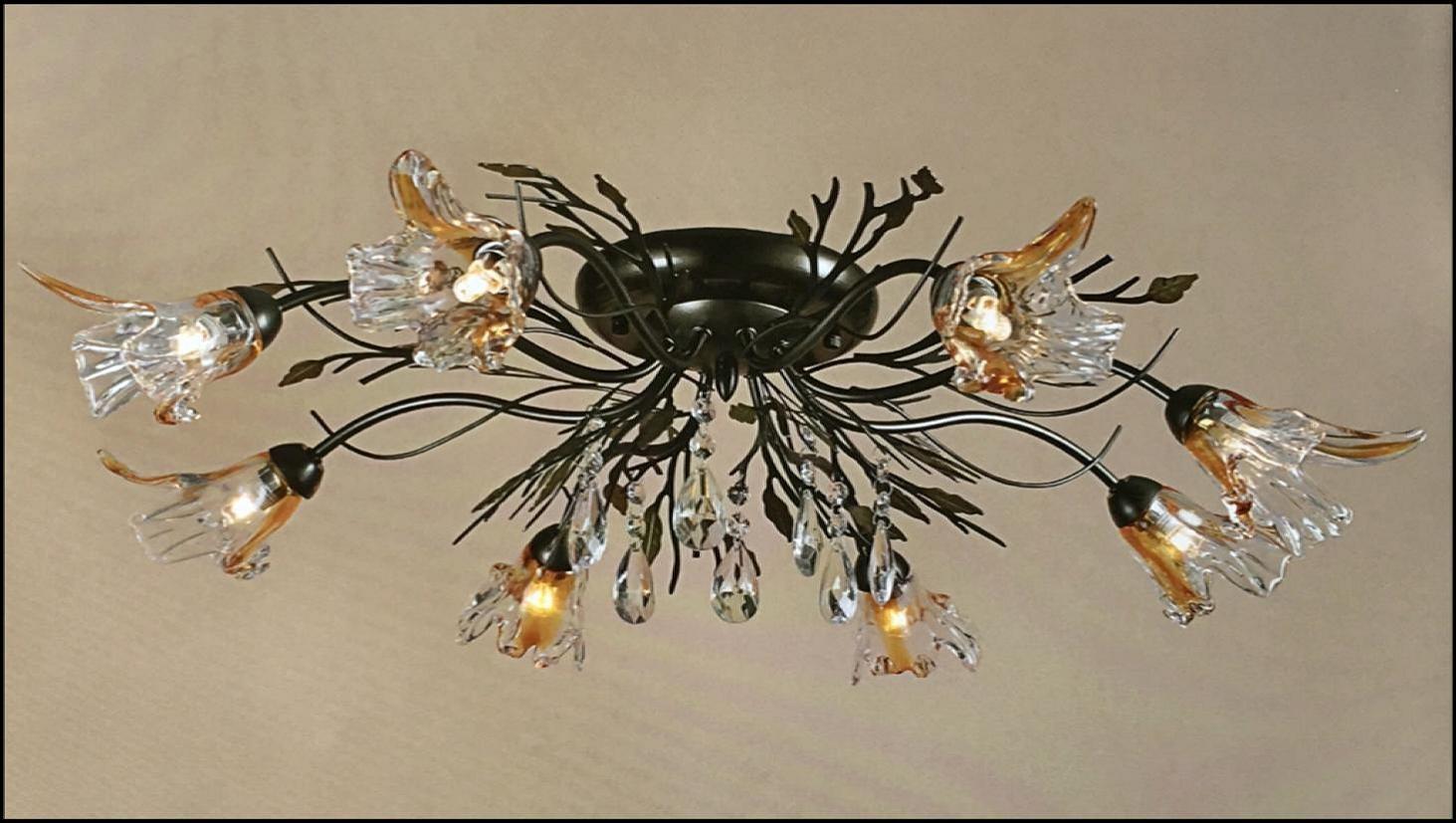 Plafoniera Fiori : Plafoniera anticata 8 luci fiore vetro soffiato ambra trasparente