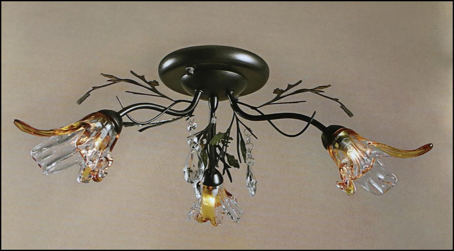 Plafoniera Fiori : Plafoniera anticata 3 luci fiore vetro soffiato ambra trasparente