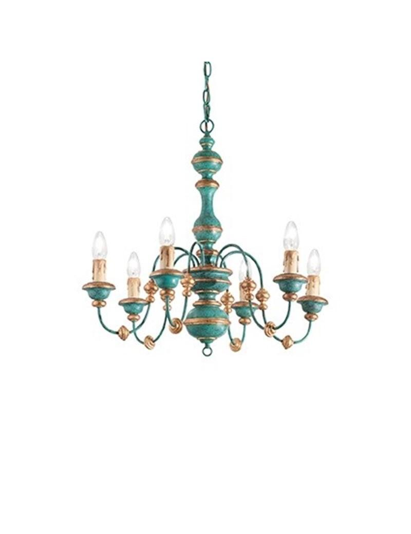 Sospensione 8 luci foglia oro blu antichizzato effetto legno camera soggiorno