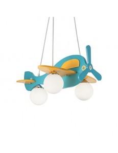 Aereo in legno lampada sospensione cameretta bambini azzurro e giallo sfere vetro bianco