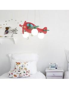 Aereo in legno lampada sospensione cameretta bambini rosso e verde sfere vetro bianco