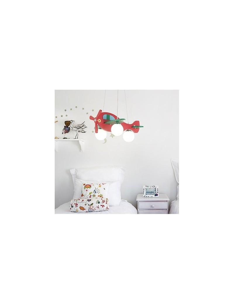 Aereo in legno lampada sospensione cameretta bambini rosso for Applique cameretta bimbi