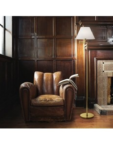 Piantana lampada da terra snodabile orientabile ottone con paralume rivestito in tessuto bianco