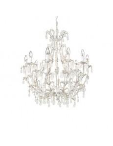 MR DESIGN: Cascino lampadario artigianale 10 luci bianco anticato gocce satinate shabby in offerta