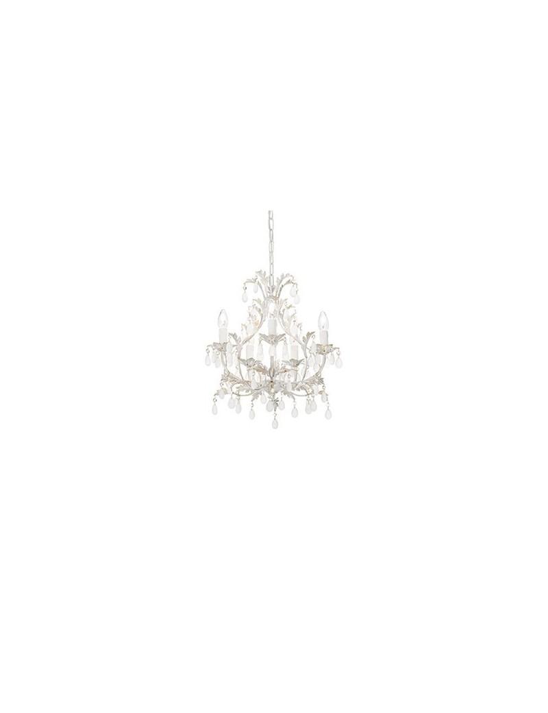 Tipo cascina lampadario artigianale 5 luci bianco anticato gocce satinate