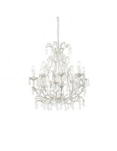 Tipo cascina lampadario artigianale 8 luci bianco anticato gocce satinate