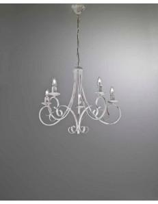 MR DESIGN: Lampadario 5 luci ferro battuto artigianale bianco antico shabby chic camera soggiorno