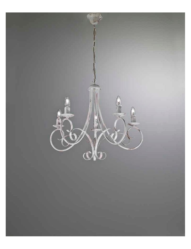 Lampadario 5 luci ferro battuto artigianale bianco antico shabby chic