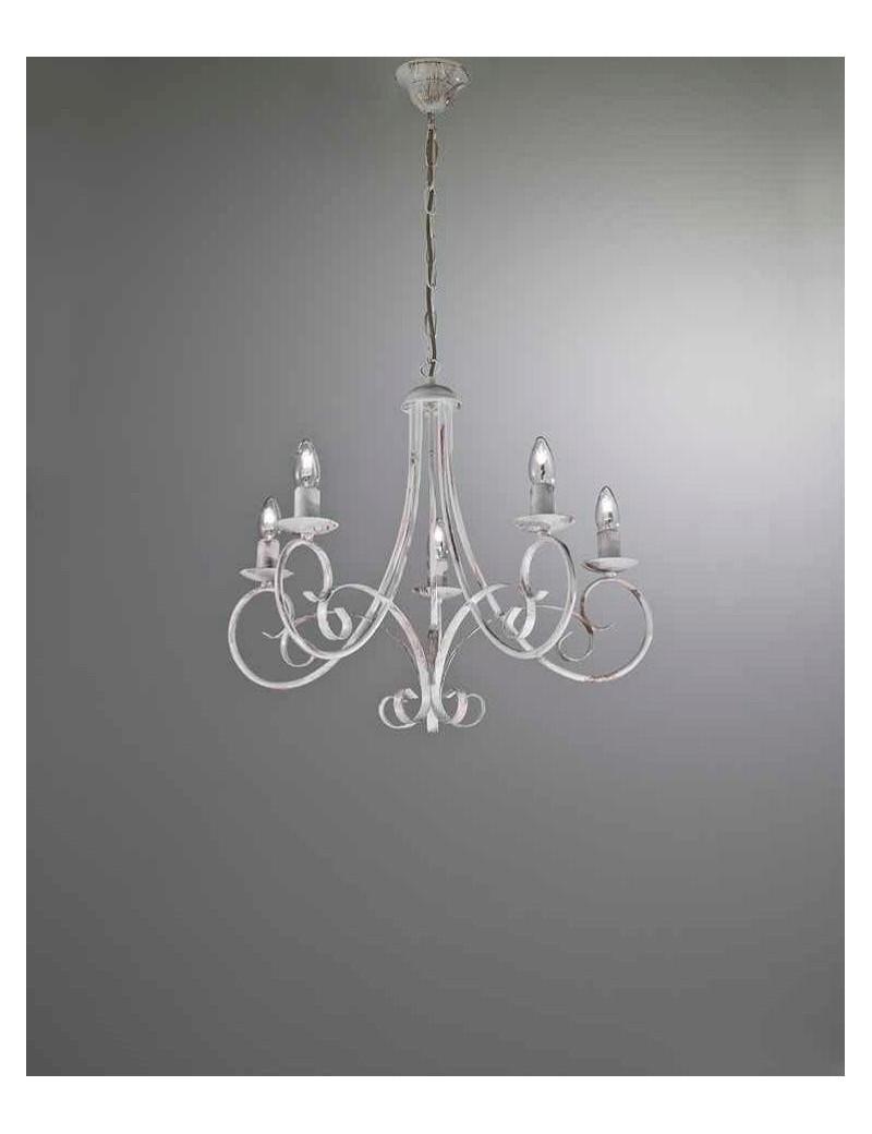 Lampadario 5 luci ferro battuto artigianale bianco antico shabby chic  camera soggiorno