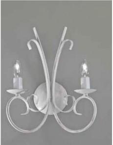 applique 2 luci ferro battuto artigianale bianco antico shabby chic camera soggiorno