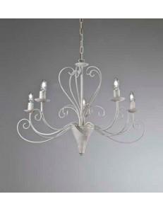 Shabby lampadario 5 bracci ferro battuto artigianale bianco antico camera soggiorno