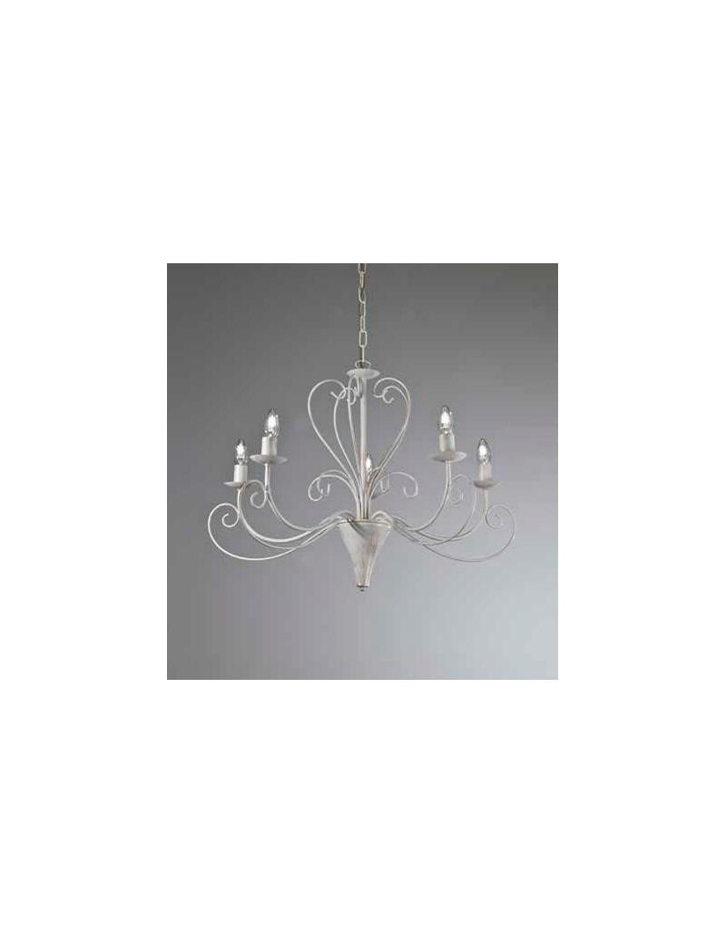 Shabby lampadario 5 bracci ferro battuto artigianale bianco antico