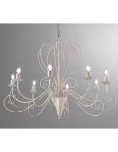 MR DESIGN: Shabby lampadario 8 bracci ferro battuto artigianale bianco antico camera soggiorno in