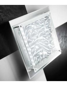 Plafoniera LED quadrata vetro cristalli decorati luce naturale 42x42cm