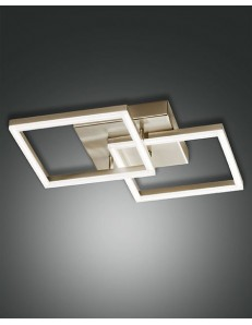 PLAFONIERA MODERNA LED 39 W doppio quadrato 3510 LUMEN DIMMERABILE oro opaco FABAS