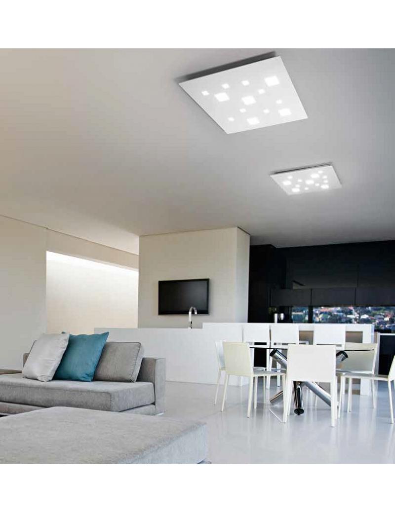 Plafoniera led quadrata 69w bianco 4968 lumen luce for Plafoniera soggiorno