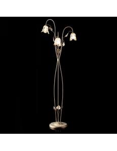 Piantana bianco ambra anticata con 3 diffusori in vetro a fiore metallo lavorato con foglie