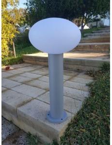 Paletto giardino GRIGIO 58 cm alluminio diffusore in policarbonato bianco opaco