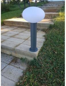Paletto giardino antracite 58 cm alluminio diffusore in policarbonato bianco opaco
