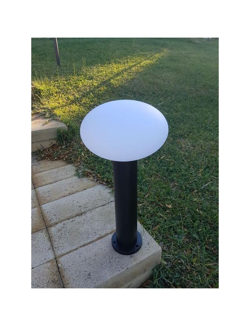 Paletto giardino NERO 58 cm alluminio diffusore in policarbonato bianco opaco