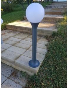 Paletto giardino antracite 80 cm alluminio diffusore in policarbonato bianco opaco
