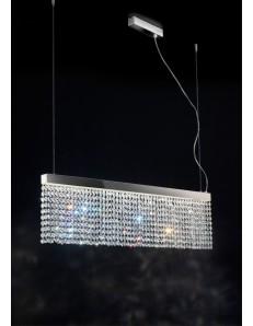 MYLIGHT sospensione LED moderna cristalli molati pendenti barra acciaio a specchio antealuce