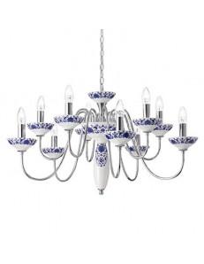 MR DESIGN: Lampadario a sospensione metallo e ceramica decorata per sala da pranzo 83cm in offerta