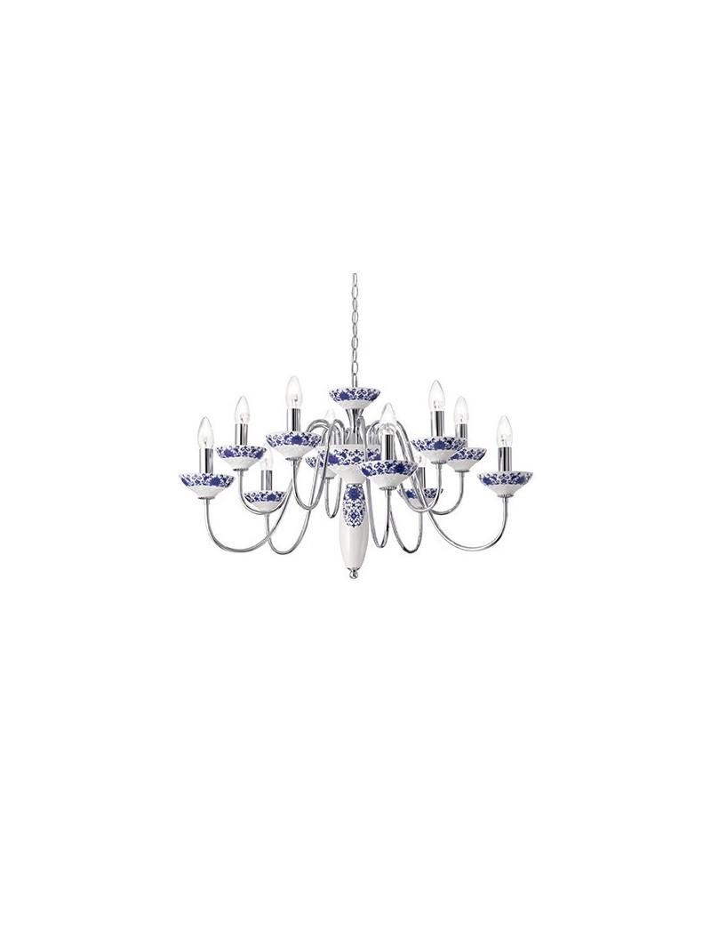 Lampadari In Ceramica.Lampadario A Sospensione Metallo E Ceramica Decorata Per Sala Da Pranzo 83cm