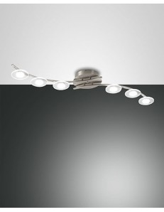 Plafoniera Led 6 luci Crow 3327-86-178 Fabas Luce 48W 4300Lm dimmerabile