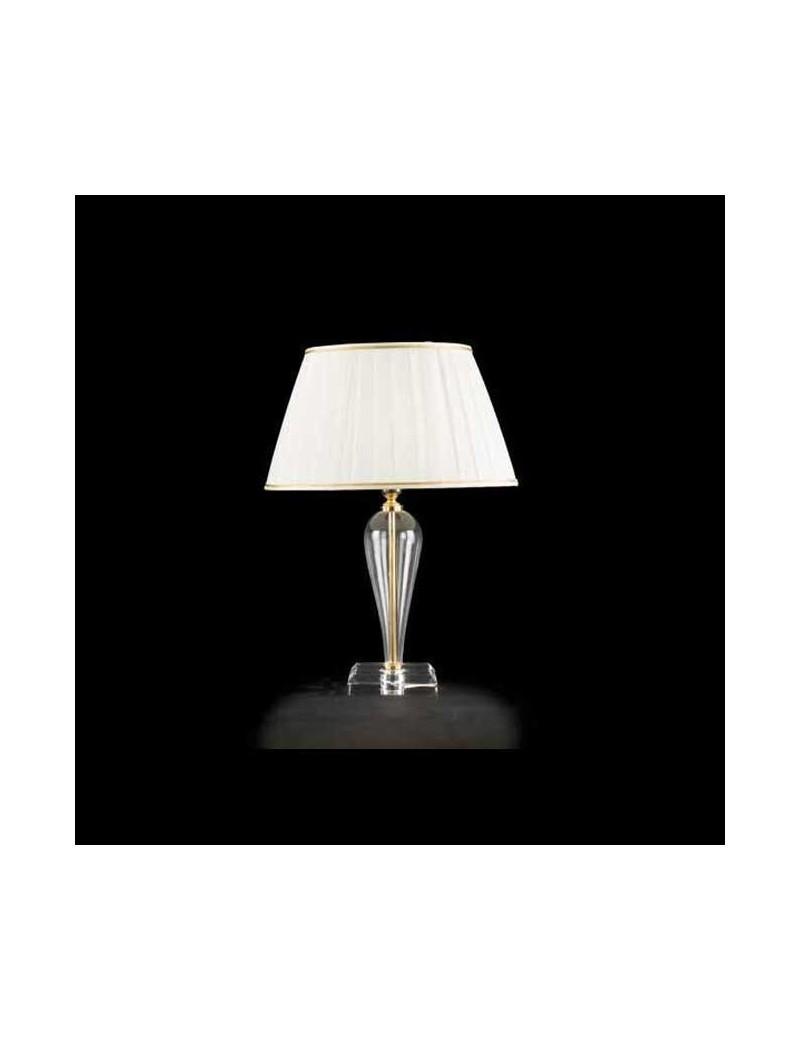 RAVEL lumetto abat jour vetro trasparente decorazioni oro paralume tessuto  camera da letto