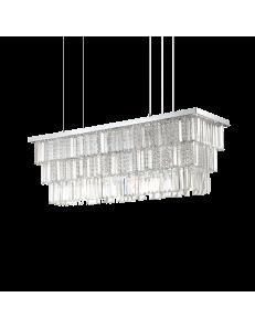 IDEAL LUX: Martinez sp8 sospensione rettangolare con pendenti catena gocce e barre in cristallo in
