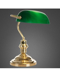 LAMPADA DA TAVOLO OTTONE E VETRO VERDE SCRIVANIA UFFICIO GLOBO 2491