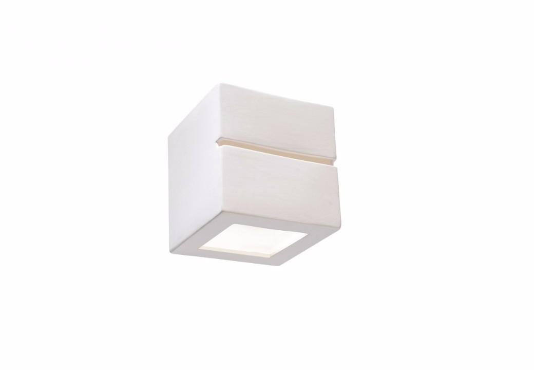 Applique quadrata in ceramica verniciabile bianca globo 7859 decoro