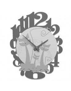 CALLEADESIGN: 3 gatti orologio moderno da parete legno colore alluminio in offerta