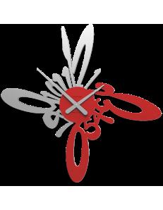 CALLEADESIGN: Armonico orologio moderno da parete legno colore rosso fuoco in offerta
