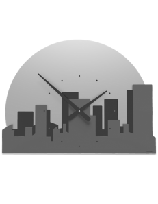 CALLEADESIGN: Skyline orologio metropoli mezzaluna legno color grigio quarzo in offerta